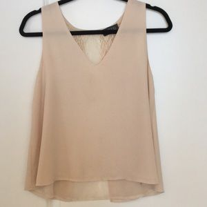 ASTR layered tank top with lace back